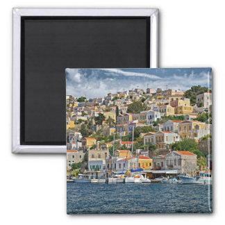 Symi, Greece cityscape Square Magnet