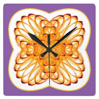 Symmetric pattern square wall clock