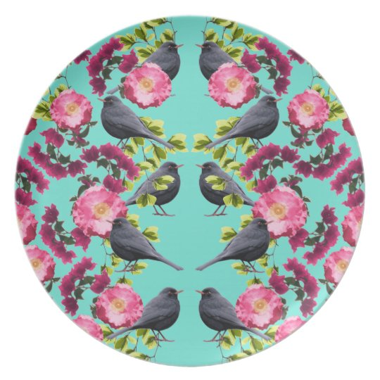 Symmetrical Blue Bird Print by Zala02Creations Plate