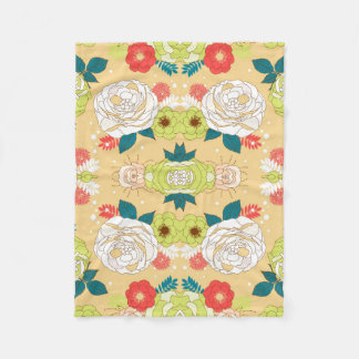 Symmetrical  Colorful Flowers Fleece Blanket