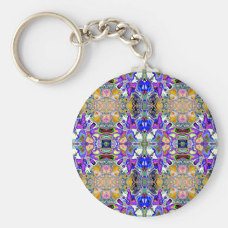 Symmetrical Fantasy Abstract Basic Round Button Keychain