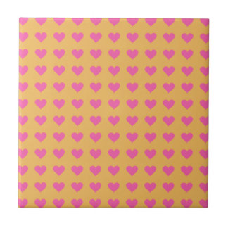 Symmetrical Pink Hearts On Beeswax. Tangerine Small Square Tile