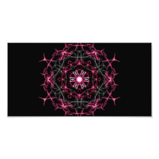 Symmetrical Ruby Kaleidoscope Photographic Print