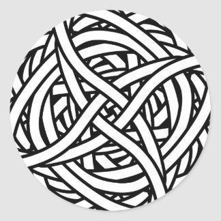 Symmetrical weave design in black and white round sticker