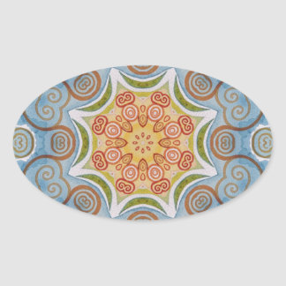 Symmetry design oval sticker