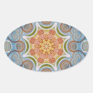 Symmetry design oval sticker