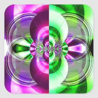 Symmetry green pink created by Tutti Square Sticker