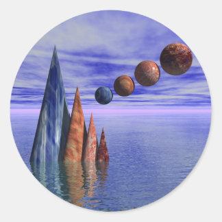 Symmetry In Blue Round Sticker