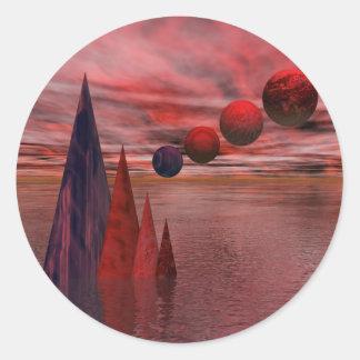 Symmetry In Red Round Sticker