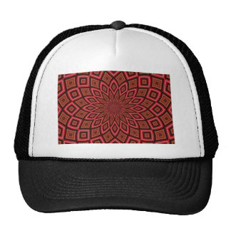 symmetry kaleidoscope red abstract background mesh hat