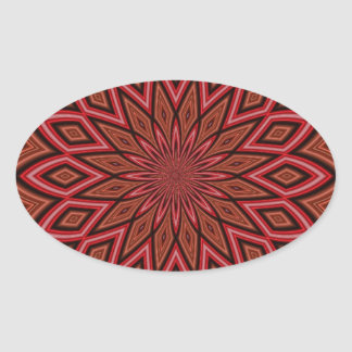 symmetry kaleidoscope red abstract background oval sticker