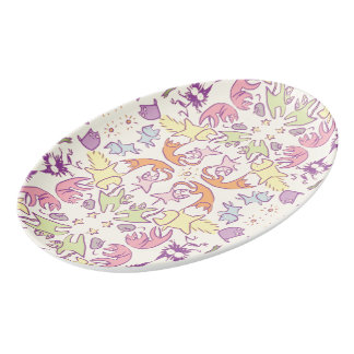 Symmetry Pastelcolor Cute Cats Porcelain Serving Platter