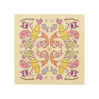 Symmetry Pastelcolor Cute Cats Wood Print