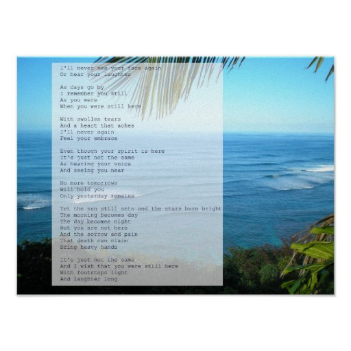Sympathy and Grief Poem- Hawaii Sea Poster