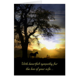 Sympathy Card for Loss of Wife Sunset & Horse