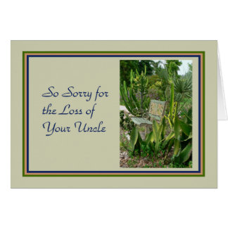 Sympathy Card for Uncle with a Bench and Plants
