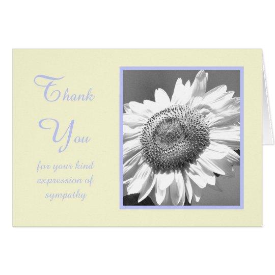 Sympathy Condolence Thank You Card -- Sunflower