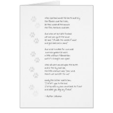 Sympathy Dog Loss Card - Poem on Front
