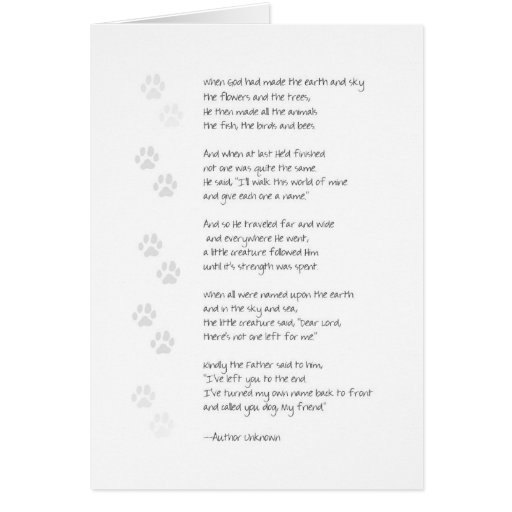 Sympathy Dog Loss Card - Poem on Front