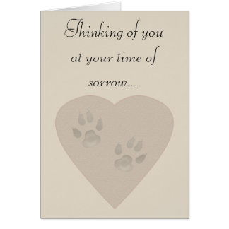 Sympathy for a Pet: Paw Prints in a Heart of Sand Card