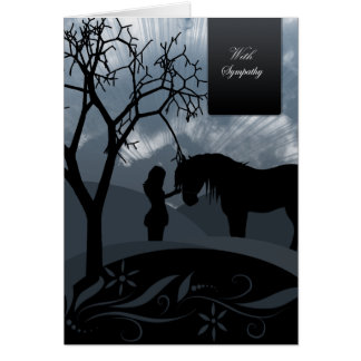 Sympathy - Horse & Woman Silhouettes Greeting Card