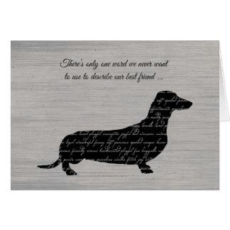 Sympathy, Loss of Dog, Dachshund Word Collage Card