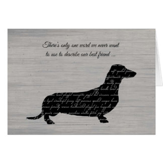 Sympathy, Loss of Dog, Dachshund Word Collage Greeting Card