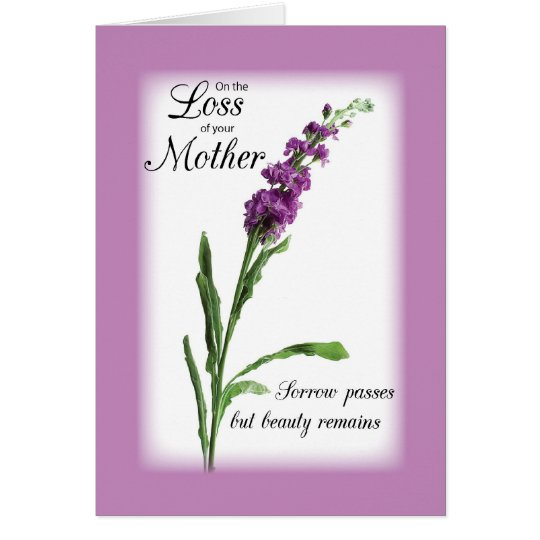 Sympathy Loss of Mother Purple, Religious Card