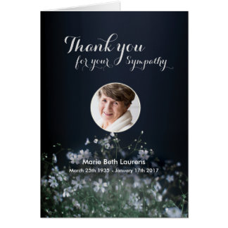 Sympathy Memorial Flower Thank You card with Photo