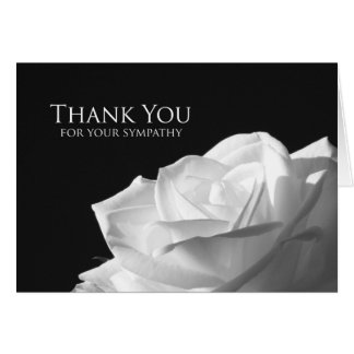 Sympathy Memorial Thank You Card -- White Rose Greeting Card