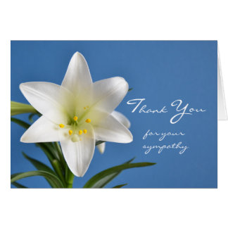 Sympathy Memorial Thank You Note Card, Easter Lily Card