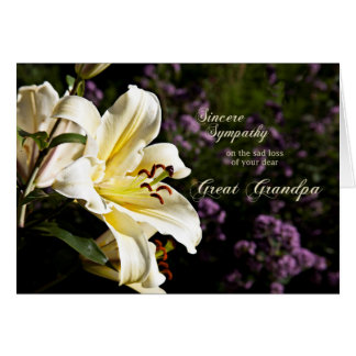Sympathy on the death of a great grandpa. greeting card