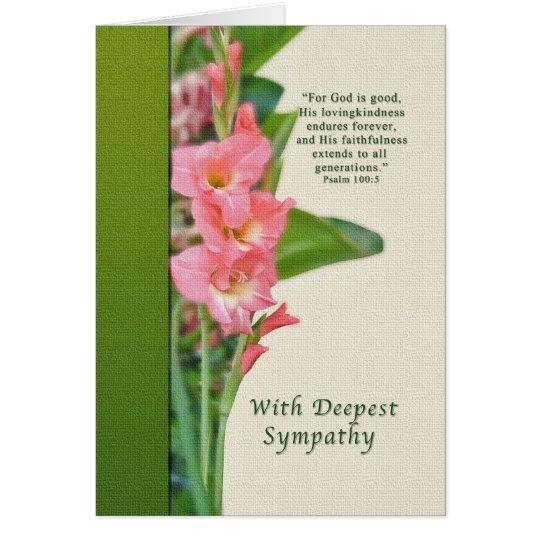Sympathy, Pink Gladiolus, Religious Card