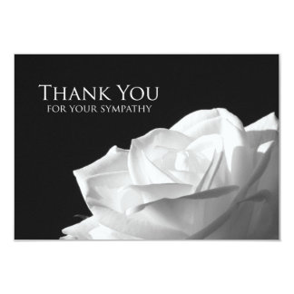 Sympathy Thank You Flat Card - White Rose 9 Cm X 13 Cm Invitation Card