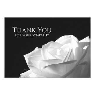 Sympathy Thank You Flat Card - White Rose