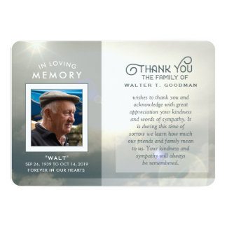 Sympathy thank You Peaceful Clouds Blue & White Card