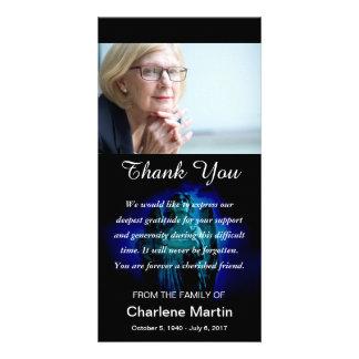 Sympathy Thank You Photo Memorial Angel Blue Card