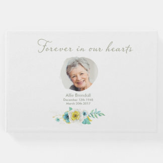 Sympathy Watercolor Flower Photo Guest Book