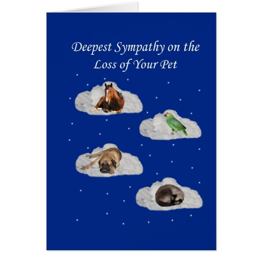 SympathyLoss-OfPet-Royal Blue Paper-CLOUDS-ANIMALS Card