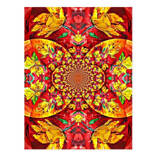 Symphony of Red. Abstract Flower Design Postcards