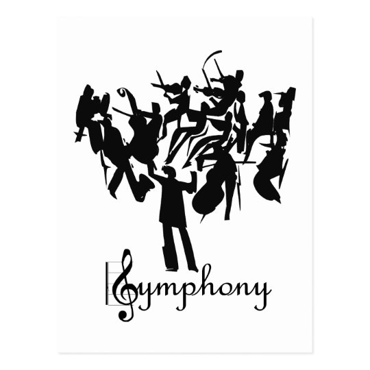 SYMPHONY orchestra in a stylised design Postcard
