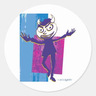 SymTell Blue Layered Naughty Dancer Round Sticker