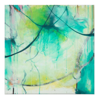 Synapse - Blue abstract expressionism art Poster