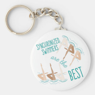 Synchronized Swimmers Basic Round Button Key Ring