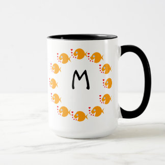 Synchronized Swimming Goldfish Cute Monogrammed Mug