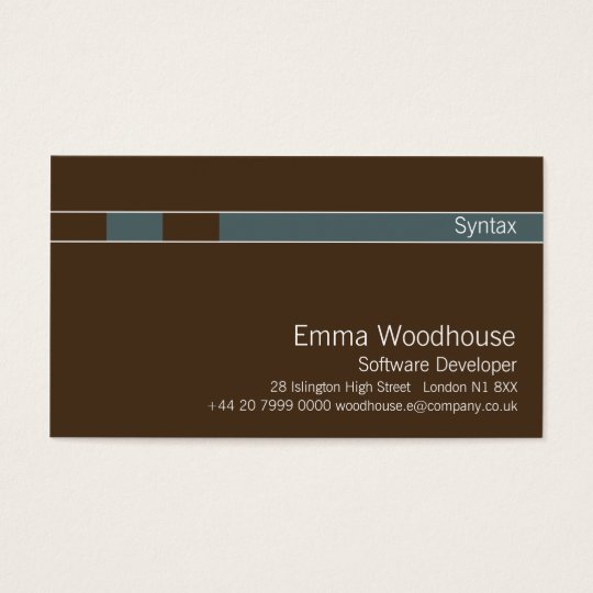 Syntax Chocolate Brown & Cadet Blue Business Card