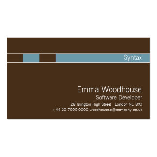 Syntax Chocolate Brown & Cornflower Blue Business Cards
