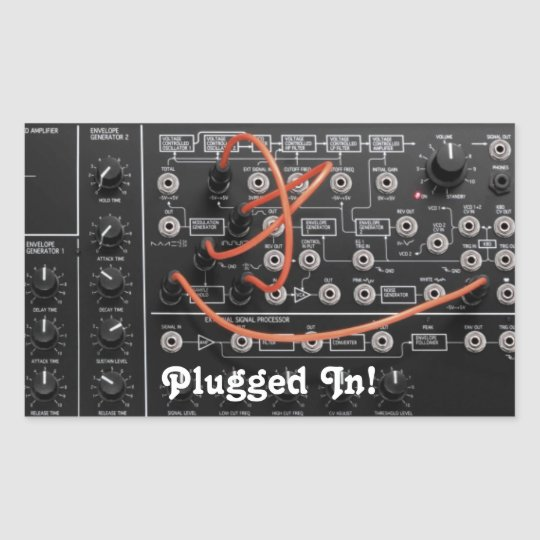 Synthesizer Is Plugged In Rectangular Sticker