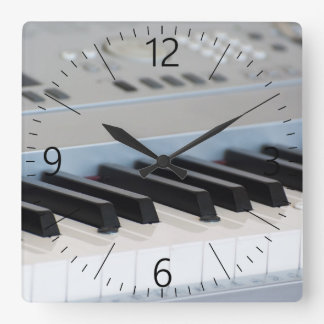 Synthesizer keyboard square wall clock
