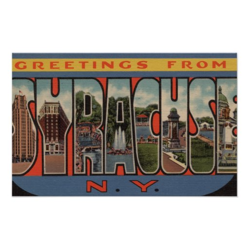 Syracuse, New York - Large Letter Scenes Poster